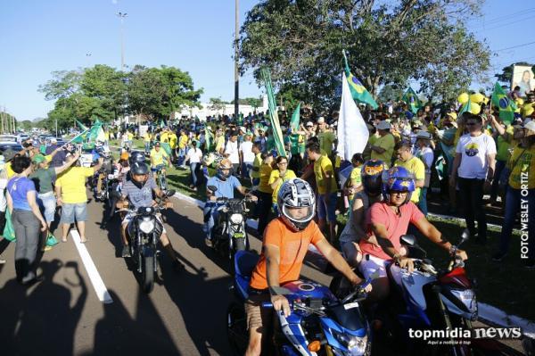 Cidade do Natal fica verde e amarela em ato a favor de Bolsonaro
